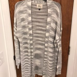 White and grey long open sweater